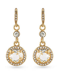 Carolee Gold-Tone Columbus Circle Round Drop Earrings