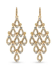 Carolee Gold-Tone Columbus Circle Chandelier Earrings