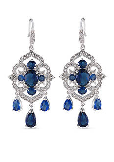 Carolee Silver-Tone The Cloisters Blue Crystal Chandelier Earrings