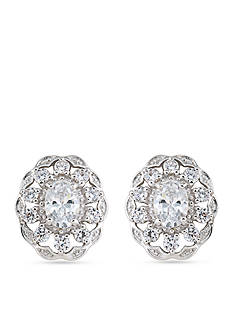 Carolee Silver-Tone The Cloisters Clear Crystal Button Earrings
