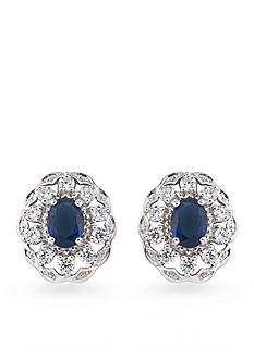 Carolee Silver-Tone The Cloisters Blue Crystal Button Earrings