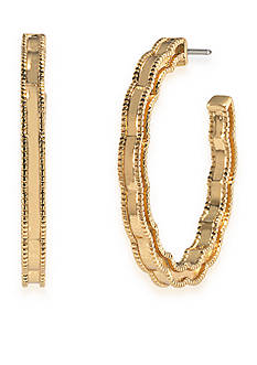 Carolee Gold-Tone Bryant Park Hoop Earrings