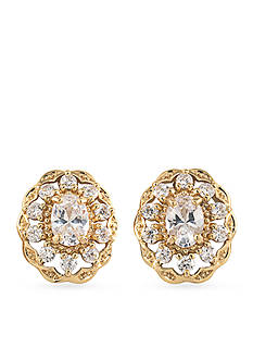 Carolee Gold-Tone Bryant Park Button Earrings