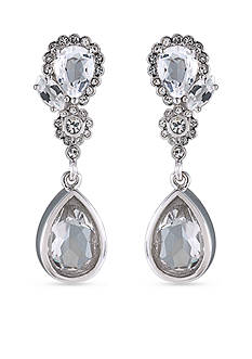 Carolee Silver-Tone The Cloisters Clear Crystal Double Drop Earrings