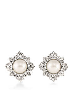 Carolee Silver-Tone Waldorf Button Earrings