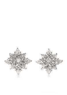 Carolee Silver-Tone New York Star Button Earrings