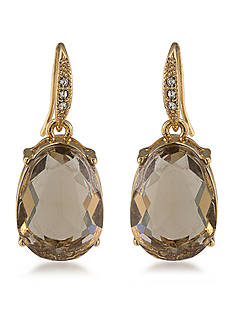 Carolee Gold-Tone Nine to Five Topaz Drop Earrings