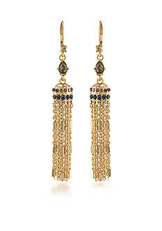 Carolee Gold-Tone Nine to Five Tassel Drop Linear Earrings
