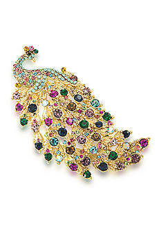 Carolee Gold-Tone Mom's the Word Fancy Feathers Peacock Pin