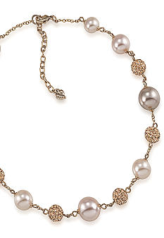 Carolee Blush Pink Pearl and Crystal Necklace