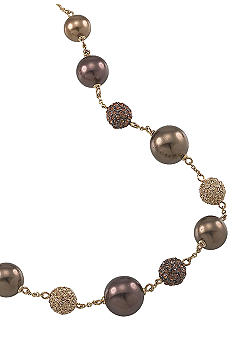 Carolee Gold and Brown Pearl Illusion Necklace