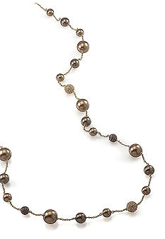 Carolee Long Pearl and Crystal Illusion Necklace