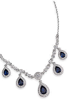 Carolee Simply Blue Crystal Teardrop Necklace