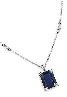 Carolee Simply Blue Emerald Cut Crystal Pendant Necklace<br>