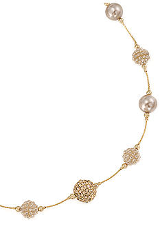 Carolee Mini Make Over Suede Pearl Illusion Necklace