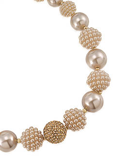 Carolee Mini Make Over Suede Pearl Bold Beaded Collar Necklace