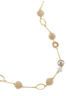 Carolee Mini Make Over Linked Illusion Suede Pearl Necklace