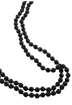 Long Jet Bead Rope Necklace