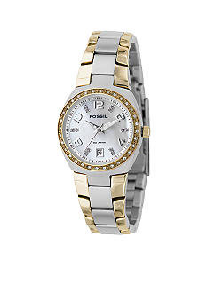 Fossil Ladies' Two-tone Mother of Pearl Analog Dial