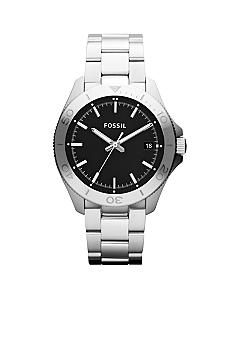 Fossil Men's Silver-Tone Stainless Steel Retro Traveler Three-Hand Watch
