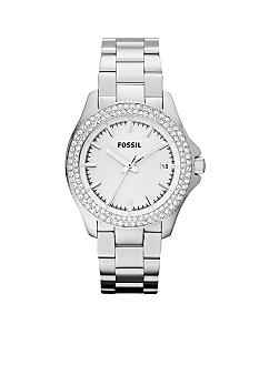 Fossil Ladies Silver Tone Stainless Steel Retro Traveler Glitz 3 Hand Watch