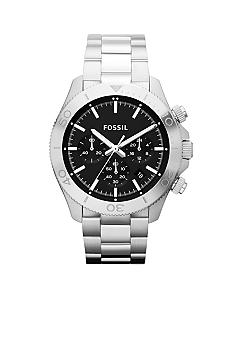 Fossil Men's Silver-Tone Stainless Steel Retro Traveler Chronograph Watch
