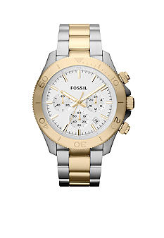 Fossil Men's Silver-Tone and Gold-Tone Stainless Steel Retro Traveler Chronograph Exclusive 125th Anniversary Watch