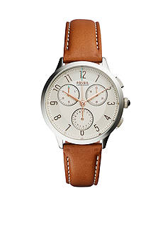 Fossil Women's Abilene Brown Leather Strap Chronograph Watch