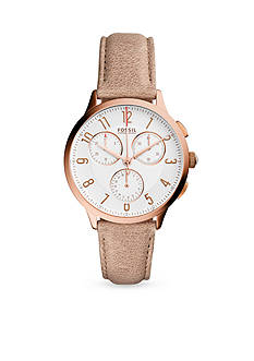 Fossil Women's Rose Gold-Tone Abilene White Leather Strap Chronograph Watch