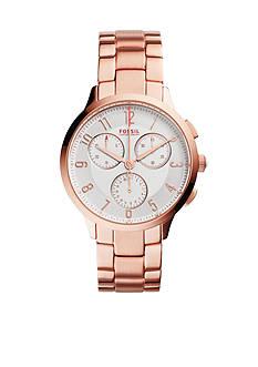 Fossil Women's Abilene Rose Gold-Tone Stainless Steel Bracelet Chronograph Watch