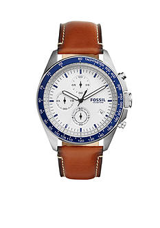 Fossil Watches Men Sport 54 Chronograph Brown Leather Watch
