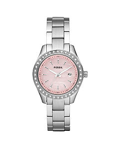 Fossil Ladies Silver-Tone Stainless Steel Three-Hand Stella Mini Glitz Watch