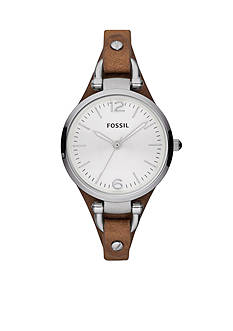 Fossil Georgia Leather and Stainless Steel Watch