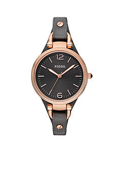 Fossil Georgia Leather Watch Smoke and Rose