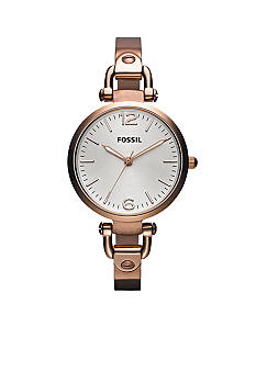 Fossil Ladies Round Rose Gold Tone Georgia Watch