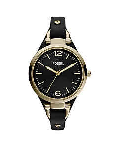 Fossil Ladies Georgia Black Leather with Silver Tone Dial Watch