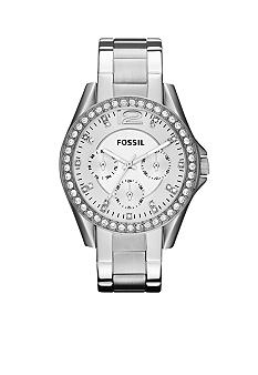 Fossil Ladies Silver Tone Stainless Steel Riley Glitz Watch