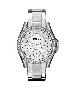 Fossil Ladies Silver-Tone Stainless Steel Riley Glitz Watch