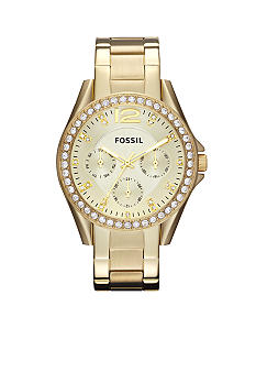 Fossil® Women's Riley Gold Tone Glitz Watch