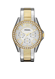 Fossil® Women's Riley Two Tone Glitz Watch