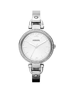 Fossil Ladies Silver Tone Stainless Steel Georgia 3-Hand Glitz Watch