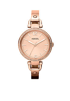 Fossil Ladies Rose Gold Tone Stainless Steel Georgia 3-Hand Glitz Watch