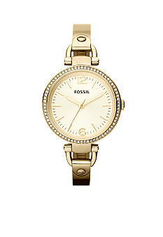 Fossil Ladies Gold Tone Stainless Steel Georgia 3-Hand Glitz Watch