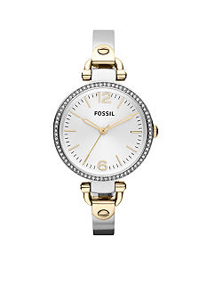 Fossil Ladies Silver-Tone and Gold-Tone Stainless Steel Georgia Three-Hand Glitz 125th Anniversary Exclusive Watch