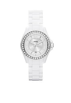 Fossil White Riley Watch
