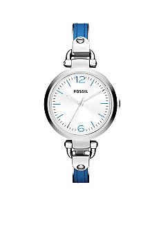 Fossil Stainless Steel and Blue Leather Georgia Three-Hand Watch