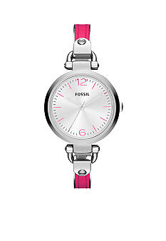 Fossil Ladies Silver-Tone Stainless Steel and Pink Leather Georgia Three-Hand Watch