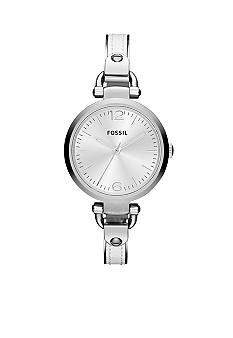 Fossil Ladies Silver-Tone Stainless Steel and White Leather Georgia Three-Hand Watch