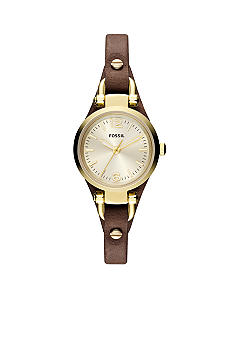 Fossil Ladies Small Brown Leather and Gold Tone Stainless Steel Georgia Three Hand Watch