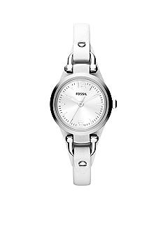 Fossil Silver Stainless Steel and White Leather Mini-Heather Three-Hand Watch